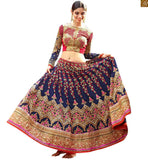 MARVELLOUS BLUE LEHENGA COUPLED WITH A BLUE AND PINK BLOUSE RTHYD6805