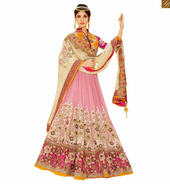 BROUGHT TO YOU BY STYLISH BAZAAR RAVISHING BRIDAL WEAR ORANGE BLOUSE WITH PEACH LEHENGA RTHYD6806