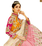 A STYLISH BAZAAR PRESENTATION RAVISHING BRIDAL WEAR ORANGE BLOUSE WITH PEACH LEHENGA RTHYD6806