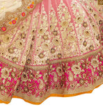 FROM THE HOUSE  OF STYLISH BAZAAR RAVISHING BRIDAL WEAR ORANGE BLOUSE WITH PEACH LEHENGA RTHYD6806