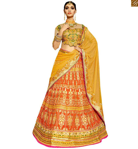 BROUGHT TO YOU BY STYLISH BAZAAR BEWITCHING ORANGE EMBROIDERED LEHENGA WITH GREEN BLOUSE RTHYD6809