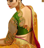 A STYLISH BAZAAR PRESENTATION BEWITCHING ORANGE EMBROIDERED LEHENGA WITH GREEN BLOUSE RTHYD6809