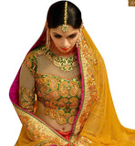 STYLISH BAZAAR INTRODUCES BEWITCHING ORANGE EMBROIDERED LEHENGA WITH GREEN BLOUSE RTHYD6809