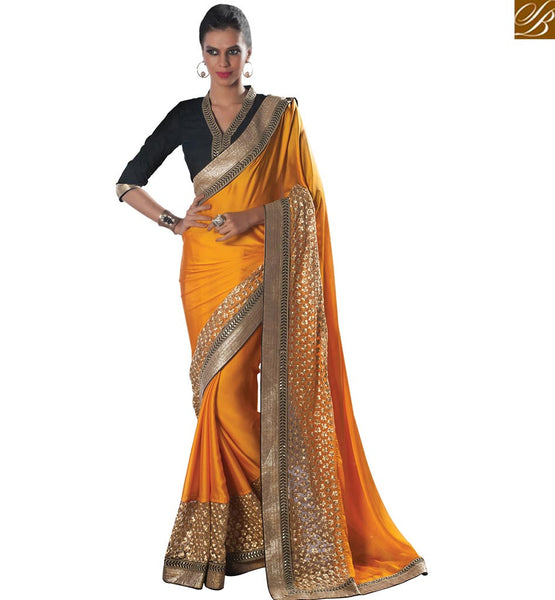 FANCY DESIGNER YELLOW SARI WITH BLACK BLOUSE VDCLA6951 BY YELLOW