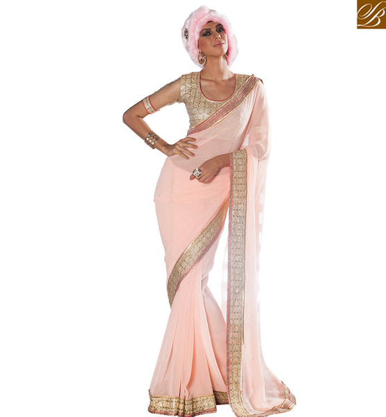 STYLISH BAZAAR INTRODUCES ENTHRALLING EMBROIDERED PINK SAREE WITH CREAM DESIGNER BLOUSE VDCLA6956