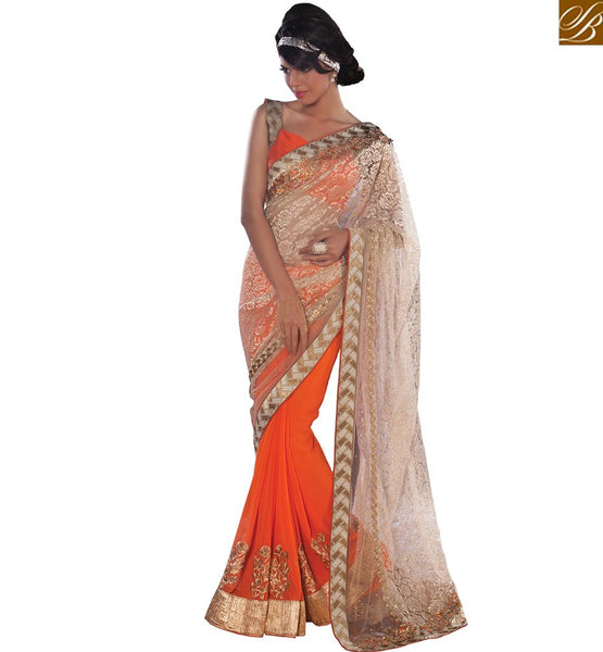 FROM THE HOUSE  OF STYLISH BAZAAR CAPTIVATING CASUAL ORANGE SAREE BLOUSE DESIGN VDCLA6957