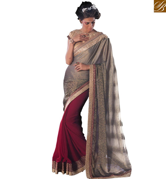 STYLISH BAZAAR PRESENTS ATTRACTIVE HALF AND HALF SAREE WITH EMBROIDERED BLOUSE VDCLA6958
