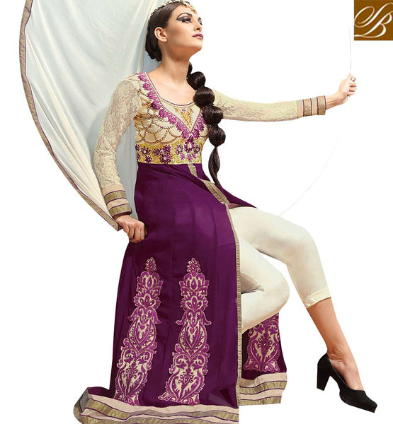 GORGEOUS PURPLE GEORGETTE PARTY WEAR ANARKALI DRESS RTASM6