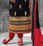 BLACK PARTY WEAR SALWAR SUIT WITH CONTRAST MARRON SALWAR AND SHADED NAZNEEN DUPATTA