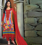 BUY ONLINE EMBROIDERED & PRINTED PARTY WEAR GEORGETTE SALWAR SUIT RED PRINTED