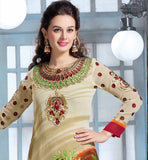DAZZLING PRINTED SALWAR SUIT FOR MODERN LADIES EMBROIDERY ON NECK