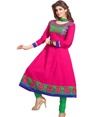 DESIGNER PINK COTTON ANARKALI DRESS