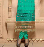 Embroidered sea green salwar kameez  New trends in churidar fashion