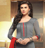 GORGEOUS GREY KAMEEZ WITH RED BOTTOM AND DUPATTA
