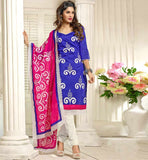 BLUE CASUAL WEAR CHANDERI COTTON SALWAR KAMEEZ WITH NAZNEEN DUPATTA VDANT7006