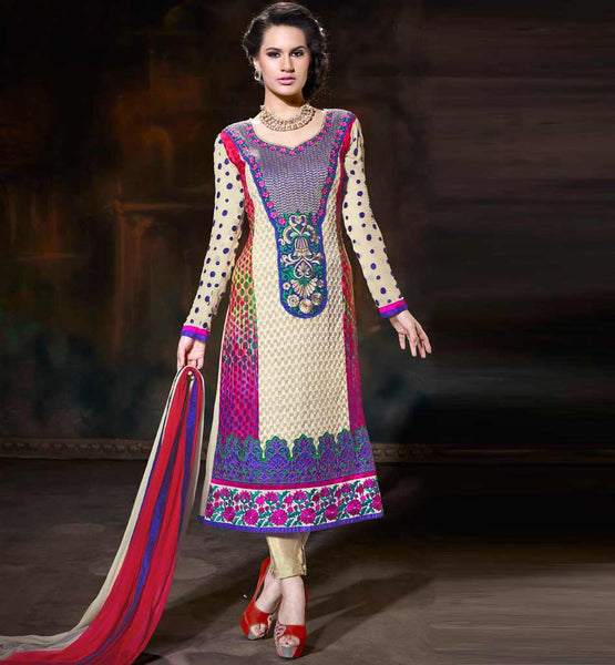 LATEST PATTERN WOMEN'S STRAIGHT SALWAR KAMEEZ WITH CHIFFON DUPATTA