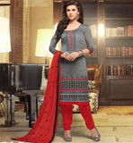 OFFICE SALWAR KAMEEZ DESIGNS FOR LADIES GREY BANARASI CHANDERI SUIT