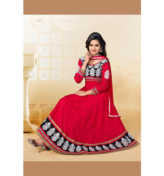 RAVISHING RED COTTON ANARKALI SALWAR SUIT RTAL6