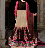 SHADED WINE & CORAL KHATLI WORK LONG EUROPEAN GOWN STYLE ANARKALI DRESS