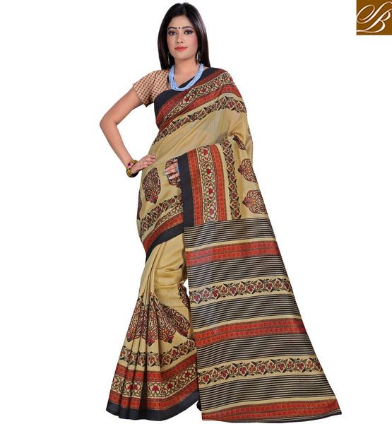 STYLISH BAZAAR BEAUTIFUL DESIGNER PRINTED CREAM SAREE AND BLOUSE RTVAN6