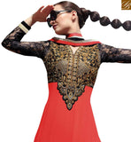 BROUGHT TO YOU BY STYLISH BAZAAR MIND BLOWING RED & BLACK COLORED DESIGNER SALWAR KAMEEZ RTASM7