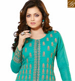 TELEVISION PRESENTER DRASHTI DHAMI GREEN AND LIGHT CHIKOO LEHENGA CHOLI  SUPERB COTTON ZARI WORK TOP WITH NET LACE BORDER LEHENGA
