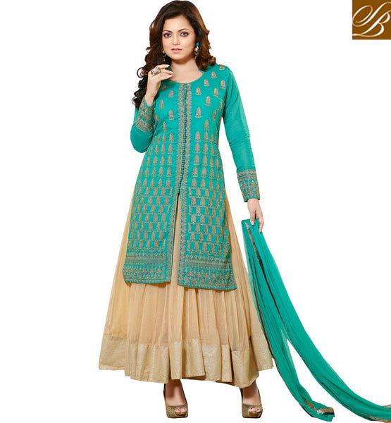SHOP ONLINE BOLLYWOOD CELEBRITY LEHENGA CHOLI TELEVISION PRESENTER DRASHTI DHAMI GREEN AND LIGHT CHIKOO LEHENGA CHOLI