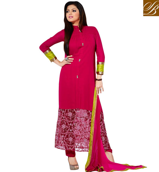 BEAUTIFUL BOLLYWOOD ACTRESSES IN SALWAR KAMEEZ RANI PINK PARTY WEAR SUIT WITH TIKIWORK, EMBROIDERY AND DIAMOND BUTTONS AND COMES WITH SANTOON SALWAR AND CHIFFON