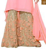 GEORGETTE TOP WITH MOTI WORK ON COLLAR AND EMBROIDERY, ZARI AND TIKIWORK ON SALWAR BOLLYWOOD PALLAZO SALWAR KAMEEZ ONLINE SHOPPING