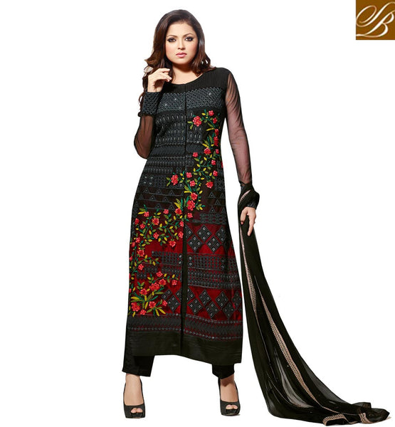 BOLLYWOOD SALWAR KAMEEZ SUIT SHOP ONLINE INDIA MADHUBALA CATALOG BLACK NET STRAIGHT CUT SUIT WITH SANTOON SALWAR AND ODHNI