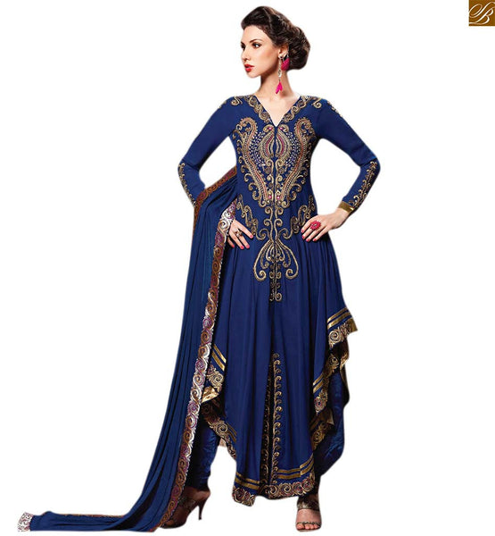 Image of 2015 pakistani fashions hot salwar kameez boutique suits blue georgette v type neck line heavy embroidered salwar kameez with blue santoon embroidered bottom