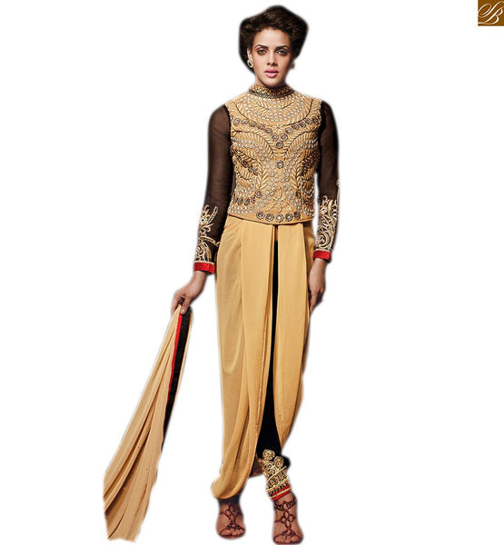 EXCELLENT NEW SALWAR DESIGNS WITH LONG KAMEEZ DRESS PLUS GLAMOROUS KOTI STYLE JACKET  Cream Georgette  Embroidered Kameez With Black Velvet Salwar Along With jacket, Chiffon Dupatta and Inner