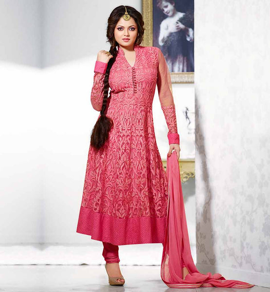LATEST FASHION BOLLYWOOD SALWAR KAMEEZ DESIGNS GLAMOROUS DRASHTI DHAMI PINK COLOR EMBROIDERY DRESS