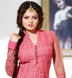 GLAMOROUS DRASHTI DHAMI PINK COLOR EMBROIDERY DRESS THIS NET ANARAKALI SUIT HAS RICH EMBROIDERY WORK ALL OVER THE DRESS