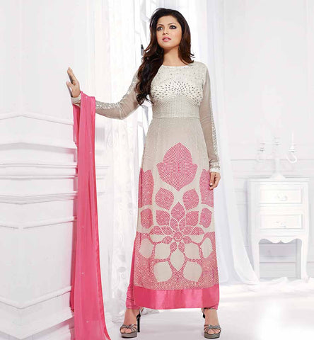 INDIAN TELEVISION CELEBRITIES IN SALWAR KAMEEZ LIGHT CREAM AND PINK GEORGETTE STRAIGHT CUT PARTY WEAR DRASHTI DHAMI SUIT