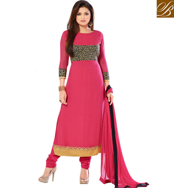 MOVIE STYLE CHURIDAR SALWAR KAMEEZ SHOPPING GLAMOROUS GIRL MADHUBALA GEORGETTE SUIT WITH MATCHING SALWAR AND CHIFFON DUPATTA