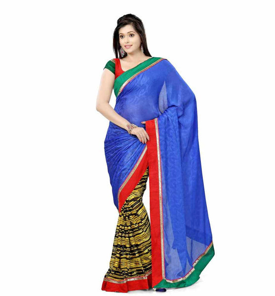 DESIGNER BLUE WITH BLACK AND YELLOW SEMI CASUAL SAREE RTTV7001