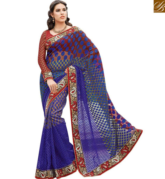 A STYLISH BAZAAR PRESENTATION CAPTIVATING BLUE DOTTED DESIGNER SAREE RTHTS7001