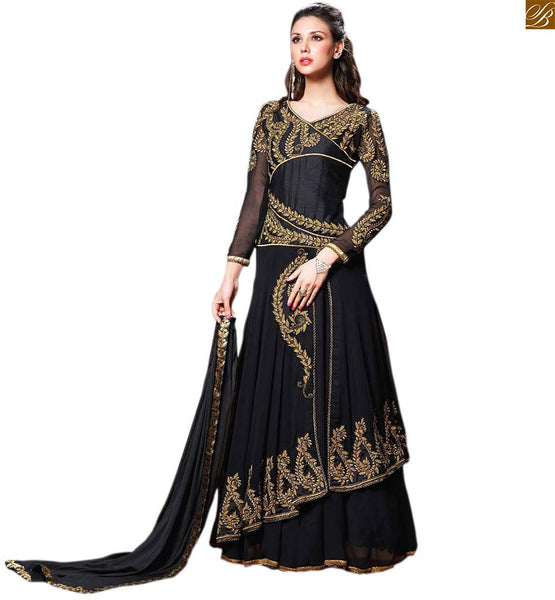 Image of Girl suits with stylish dupatta draping styles of salwar kameez black georgette three fourth heavy embroidered sleeves salwar kameez with black santoon bottom