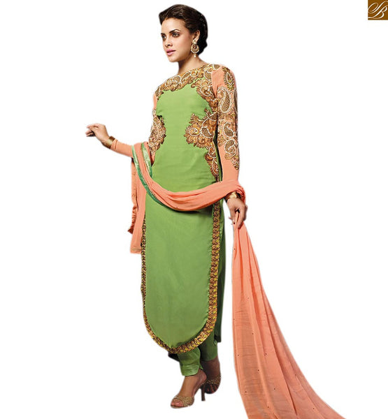 AMAZING LONG SALWAR KAMEEZ DESIGNS OF NEW LOOK DRESSES COLLECTION ONLINE SHOPPING-Embroidered Green Georgette and Net Combo Kameez With Matching Santoon Salwar.Contrast Sleeves and Dupatta Beautifies The Suit