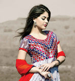 EXCELLENT EMBROIDERED AND PRINTED SALWAR KAMEEZ WITH ASYMMETRIC CUT