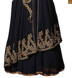 Image of Black chiffon lace border work dupatta with santoon inner included. Heavy embroidery work on neck line and sleeve, Kerry type embroidery work on lower part.
