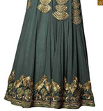 Photo of Green georgette heavy resham embroidered and stone work salwar kameez with green santoon bottom