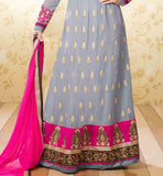 FLOOR LENGTH GREY EMBROIDERED ANARKALI SUIT STYLISHBAZAAR