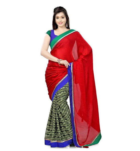 DESIGNER RED WITH PISTA GREEN SEMI CASUAL SAREE RTTV7003