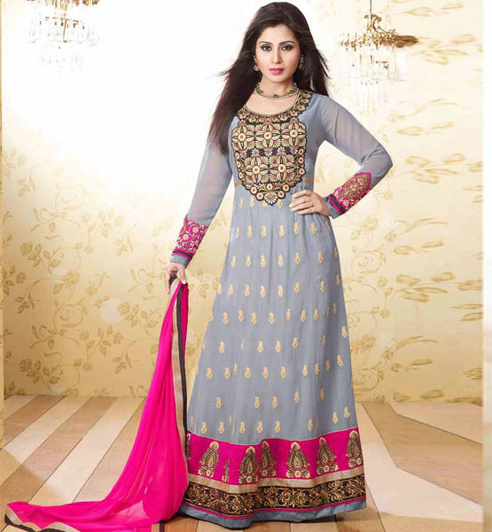 FLOOR LENGHT GREY EMBROIDERED ANARKALI SUIT STYLISHBAZAAR