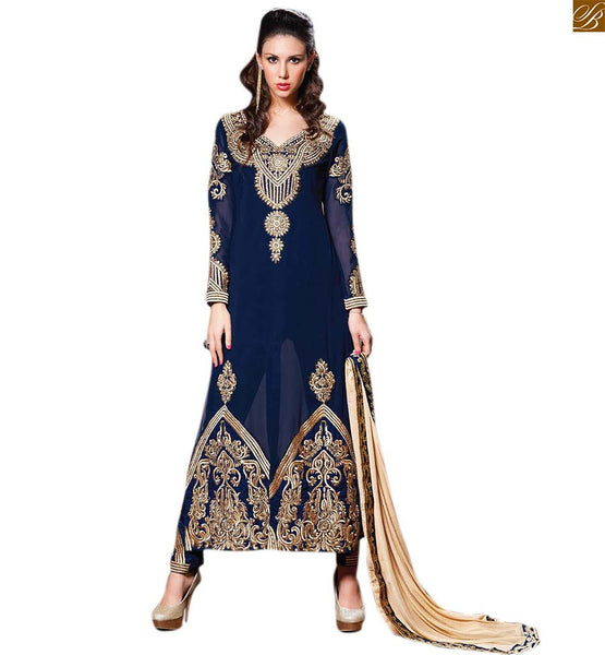 Image of Indian suit salwar kameez neck design style for stitching blue georgette heavy embroidered with zari worked stylish salwar kameez with blue santoon bottom
