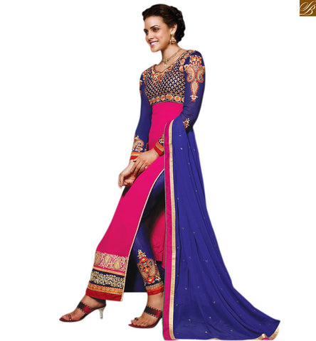 COMBINATION OF BLUE AND PINK LONG BEAUTIFUL SALWAR KAMEEZ WITH FULL SLEEVES. Discover The Beauty With our Embroidered Mix-and-Match Velvet and Georgette Kameez with Designer Blue Salwar