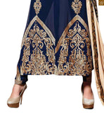 Image of Blue georgette heavy embroidered with zari worked stylish salwar kameez with blue santoon bottom