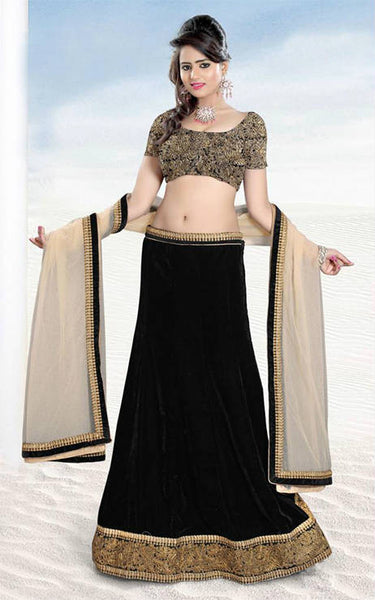 DAZZLING BLACK VELVET DESIGNER WEDDING LEHENGA CHOLI